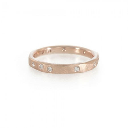 Rose gold and diamond handmade wedding band