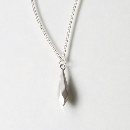 Faceted silver pendant necklace
