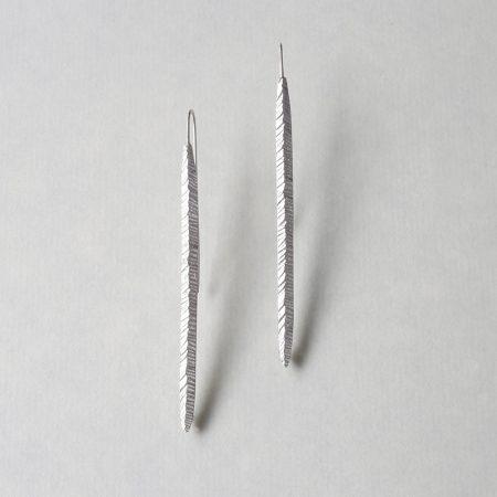 Long Silver Earrings handmade by Kendra Renee